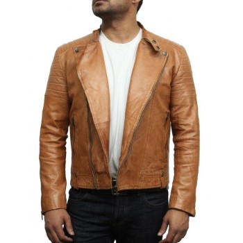 Men's Classic Tan Leather Biker Stylish Jacket-Joel