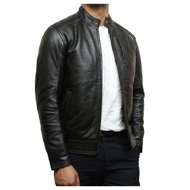Mens Black Leather Biker Jacket Crinkle Retro Derek