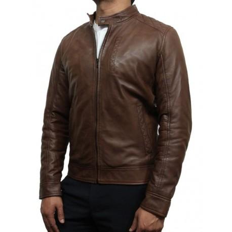 Mens Brown Leather Biker Jacket Crinkle Retro - Derek