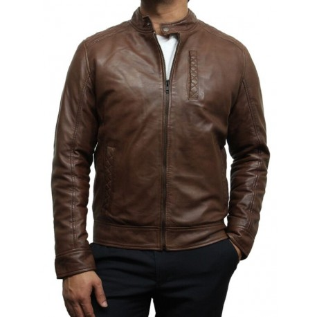 Mens Brown Leather Biker Jacket Crinkle Retro - Derek