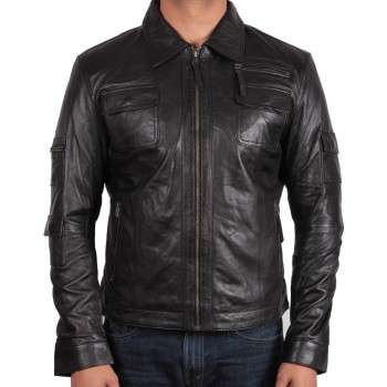 Men's Black  Leather Jacket - Hazard