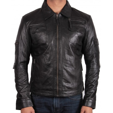 Men's Tan Leather Jacket - Morgan