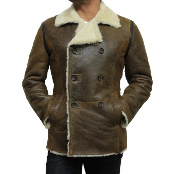 Men's shearling sheepskin jacket Vintage Brown - Rambo