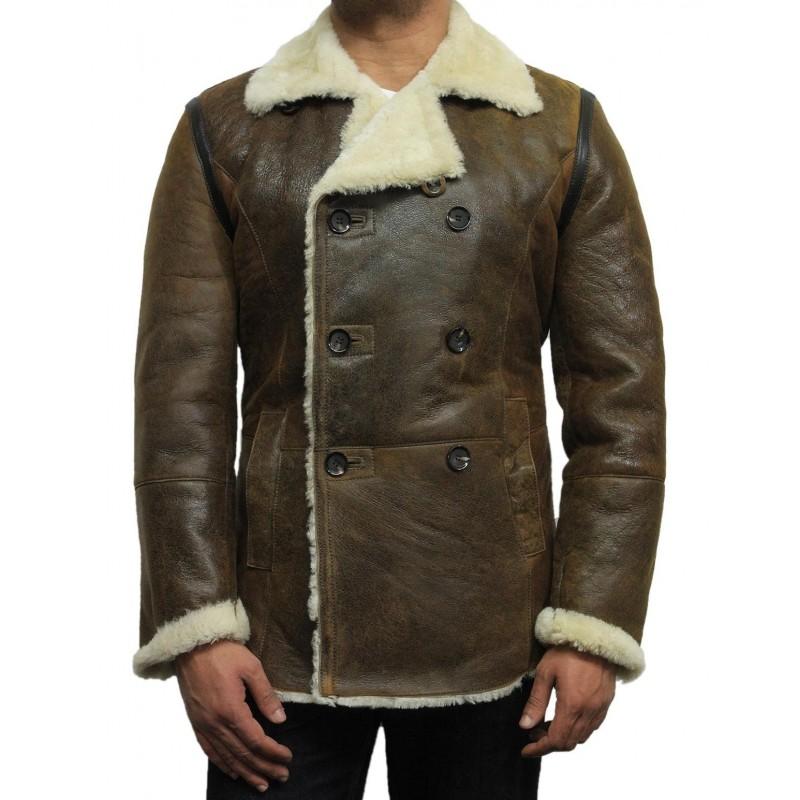 ae5a21b81d Men s shearling sheepskin jacket Vintage Brown - Rambo