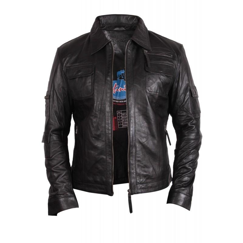 Men S Black Leather Jacket Hazard