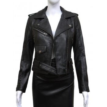 Ladies Black Fitted Bikers Style Vintage Rock-HEDY