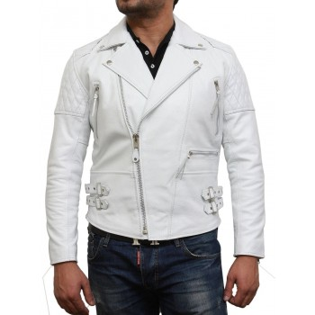 Men's White Leather Biker Jacket In Soft Aniline Hide-Ryan