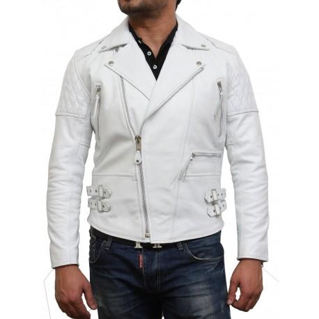 Men's White Leather Biker Jacket In Soft Aniline Hide-Ryan