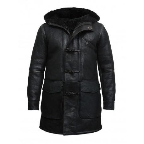 Men's Hooded Luxury Sheepskin Pea Coat German Navy Long Duffle Coat -Birk