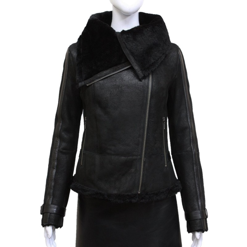 Ladies Women Short Fitted Black Biker Style Real Shearling