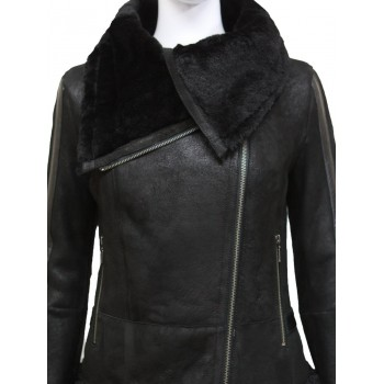 Ladies Women Short Fitted Black  Biker Style Real Shearling Sheepskin-Gisa