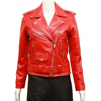 Women's Red Leather Biker Jacket BNWT-Liza