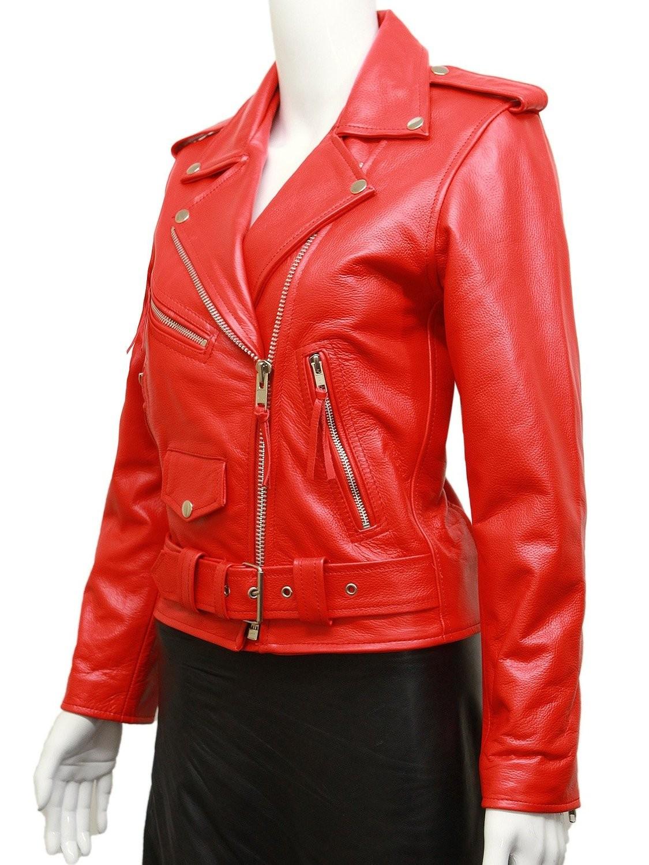 Women's Red Leather Biker Jacket BNWT Liza