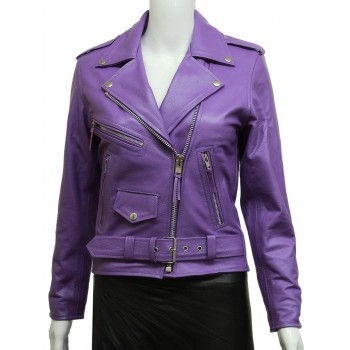 Women's Stylish Purple Leather Biker Jacket Vintage