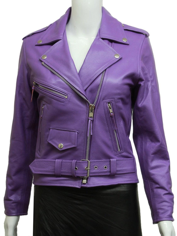 Women's Purple Leather Biker Jacket BNWT Liza