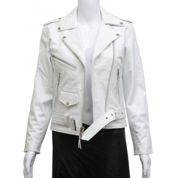 Women's White Leather Biker Jacket BNWT-Liza