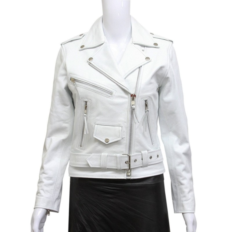 Women's White Leather Biker Jacket BNWT Liza