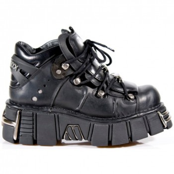 New Rock Black Leather Biker Boots - M106
