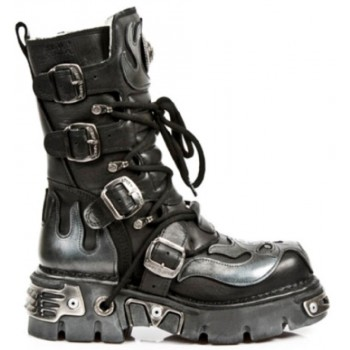 New Rock Black Leather Biker Metallic Boots - M107-S2