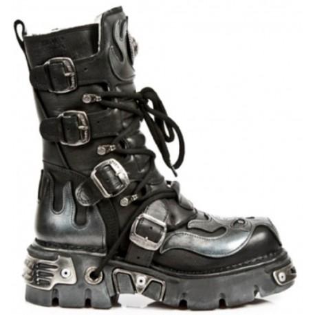 New Rock Black Leather Biker Metallic Boots - M107-S2