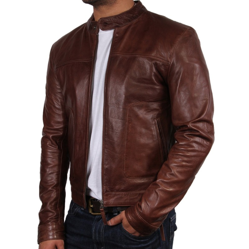 c8047988cec ... Men s Leather Biker Jacket - Zenith - Brown
