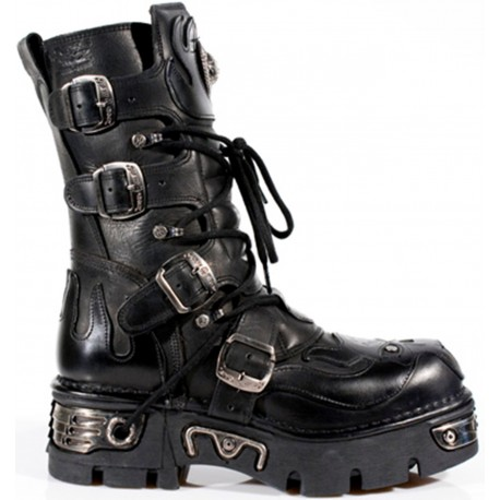 New Rock Black Leather Biker Gothic Boots - M107-S3