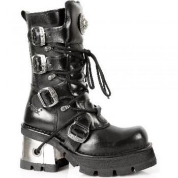 New Rock Black Leather Biker Unisex Gothic Metallic Boots - M.373.S3