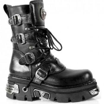 New Rock Black Leather Gothic Designer Look Unisex Boots - M.373.S4