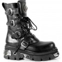 New Rock Black Leather Gothic Designer Look Unisex Boots - M.373.S4