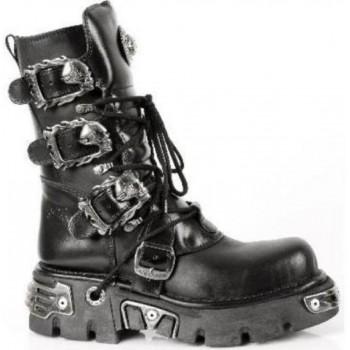New Rock Metallic Black Leather Stunning Biker Boots - M.391-S1