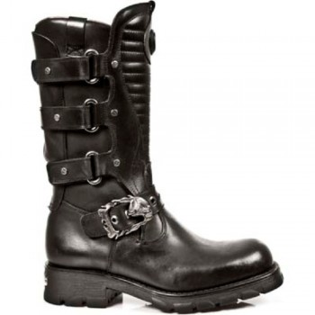 New Rock Black Leather Biker Long Boots - M.7604-S1