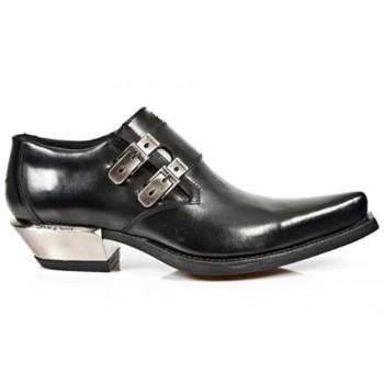 New Rock Black Leather Steel Heel Boots - M.7934.S1
