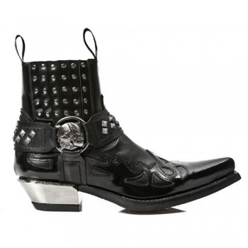 New Rock Black Leather Biker Steel Heel Stud Boots - M.7950-S1
