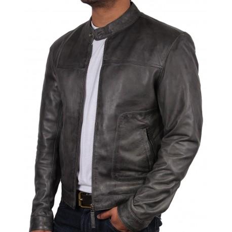 Men's Leather Biker Jacket - Zenith - Brown, Black