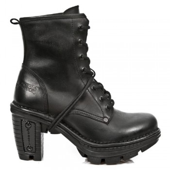 New Rock Black Leather Metallic Reactor Biker Boots - M.NE0T008-S18
