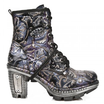 New Rock Black Leather Printed Skin Biker Boots - M.NE0T008-S4
