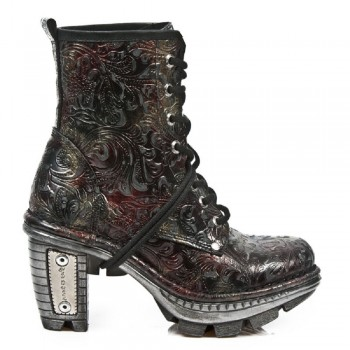 New Rock Black Leather Biker Printed Skin Boots - M.NE0T008-S13