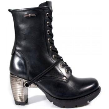 New Rock Mens Women Unisex Black Leather Steel Heel Biker Boots - M.TR001-S1