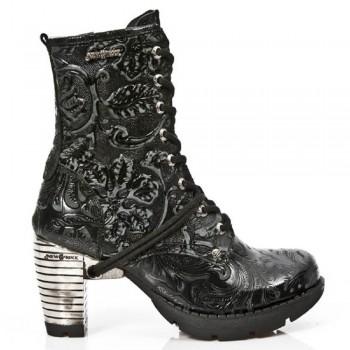 New Rock Black Leather Unisex Biker Steel Heel Boots - M.TR001-S24