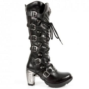 New Rock Black Leather Women Ladies Hi Heel Biker Boots - M.TR004-S1