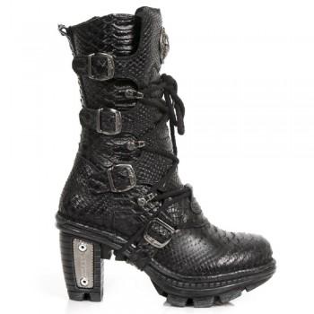 New Rock Women Ladies Black Snake Print Leather Biker Metallic Heel Boots - NEOTR005-S19