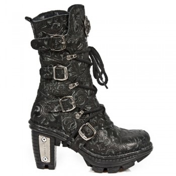 New Rock Womens Black Printed Leather Biker Boots - NEOTR005.S25