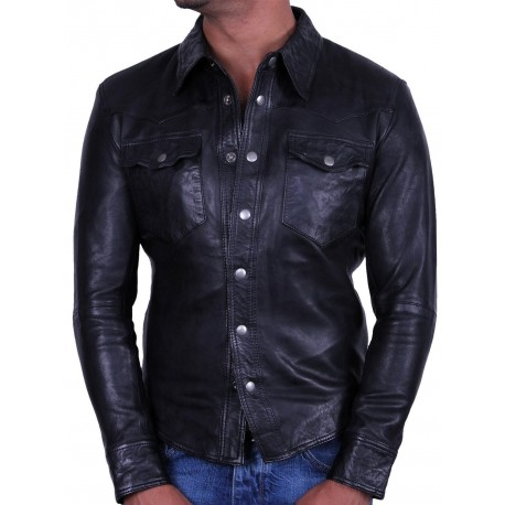Men's Black Leather Shirt Jacket - Danzel