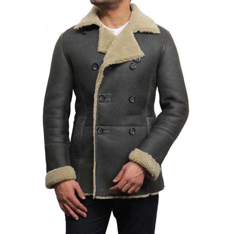 Men S Khaki Double Breasted Aviator Real Shearling Sheepskin Leather