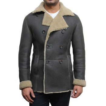 Men's olive shearling sheepskin double breasted pea coat - Rambo