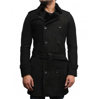 Men's Luxury Spanish Merino Fur Sheepskin Belted Pea Coat German Navy Long Duffle Coat Ideal For Winter Latest Design