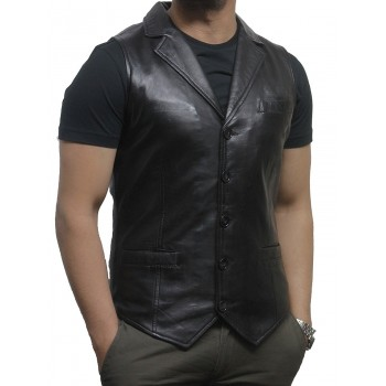 Men's Vintage Black Smart Leather Waistcoat Designer Fit-Ansel