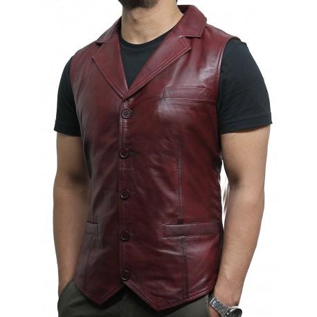 Men's Vintage Burgundy Smart Leather Waistcoat Designer Fit-Ansel