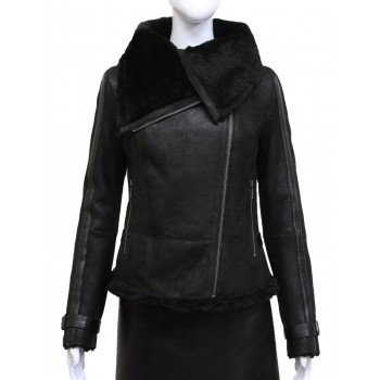 Ladies Women Short Fitted Grey Biker Style Real Shearling Sheepskin-Gisa