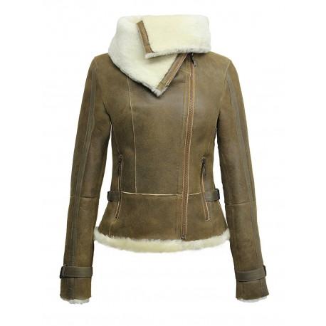 Ladies Women Short Fitted Rust Biker Style Real Shearling Sheepskin-Gisa